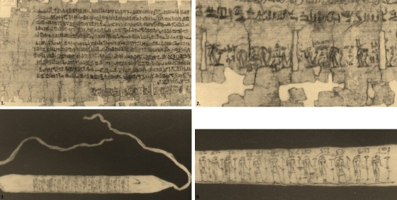 The Book of the Last Day of the Year (P. Leiden I 346) (top) and the amuletic bandages (bottom) (Source: Raven 1997).