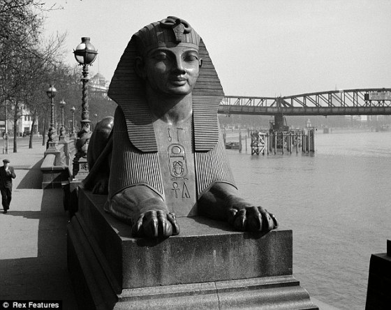 Two faux-Egyptian sphinxes cast from bronze sit either side of Cleopatra's Needle in London, and make up the most famous example of Egyptian architecture in Britain. It is situated on the Victoria Embankment on The Thames (Source: Daily Mail).
