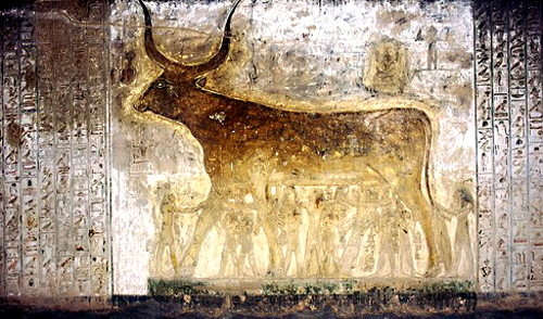 Illustration from the Myth of the Heavenly Cow (Source: http://files.myopera.com/edwardpiercy/blog/Hathor-HeavenlyCow-1.jpg).