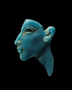 The opaque turquoise portrait inlay of the Egyptian Pharaoh Akhenaten (Source: Globe Newswire).