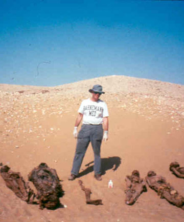 Mummy doctor: Michael Zimmerman on a 1993 trip during which he examined mummies found in tombs surrounding the ancient Egyptian town of Kellis (Source: stuff.co.nz).