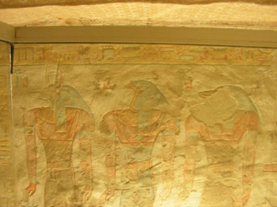 Depiction of three demons in the side chamber of QV52 (Source: Yare Egyptology).