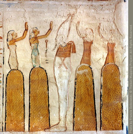 Enigmatic composition depicting Osiris worshipped by two goddesses and two gods emerging from burial mounds (Source: Theban Mapping Project).