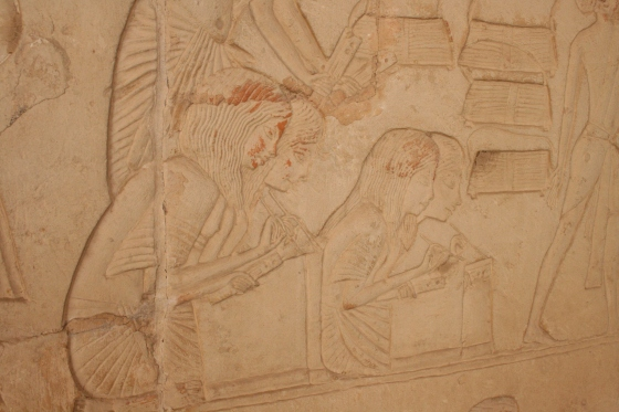 Beautiful depiction of female scribes in the Saqqara tomb of Horemheb.
