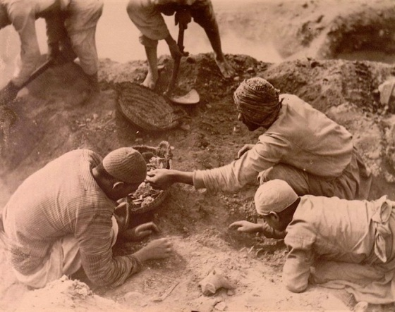 Extracting fragments of papyri from the ancient rubbish dumps of Oxyrhyncus (Source: Ancient Lives).