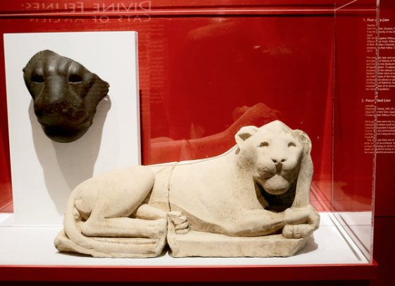 "At left, ""Face of Sakhmet,' from around 1390-1292 B.C.; right, ""Recumbent Lion,"" in limestone, from 305-30 B.C. (Source: The New York Times)."